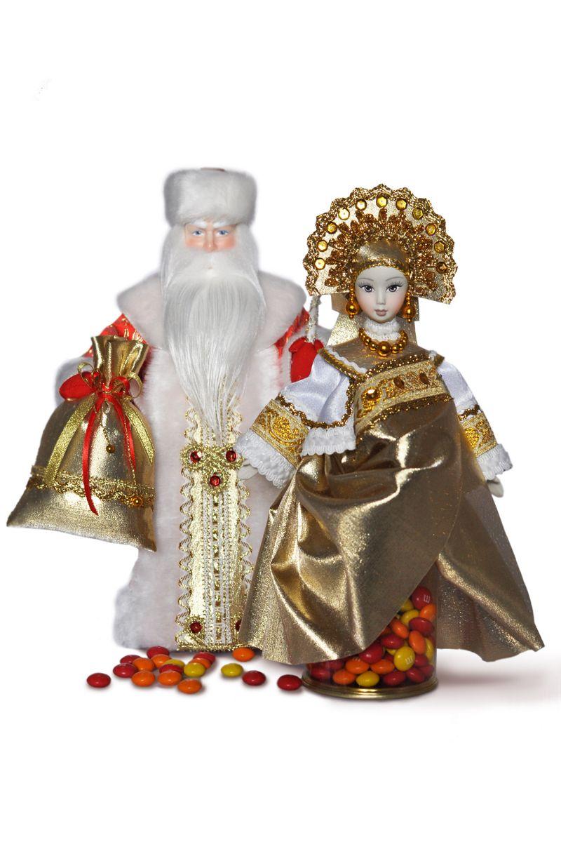 кукла золотая дед мороз интерьерный фарфоровый