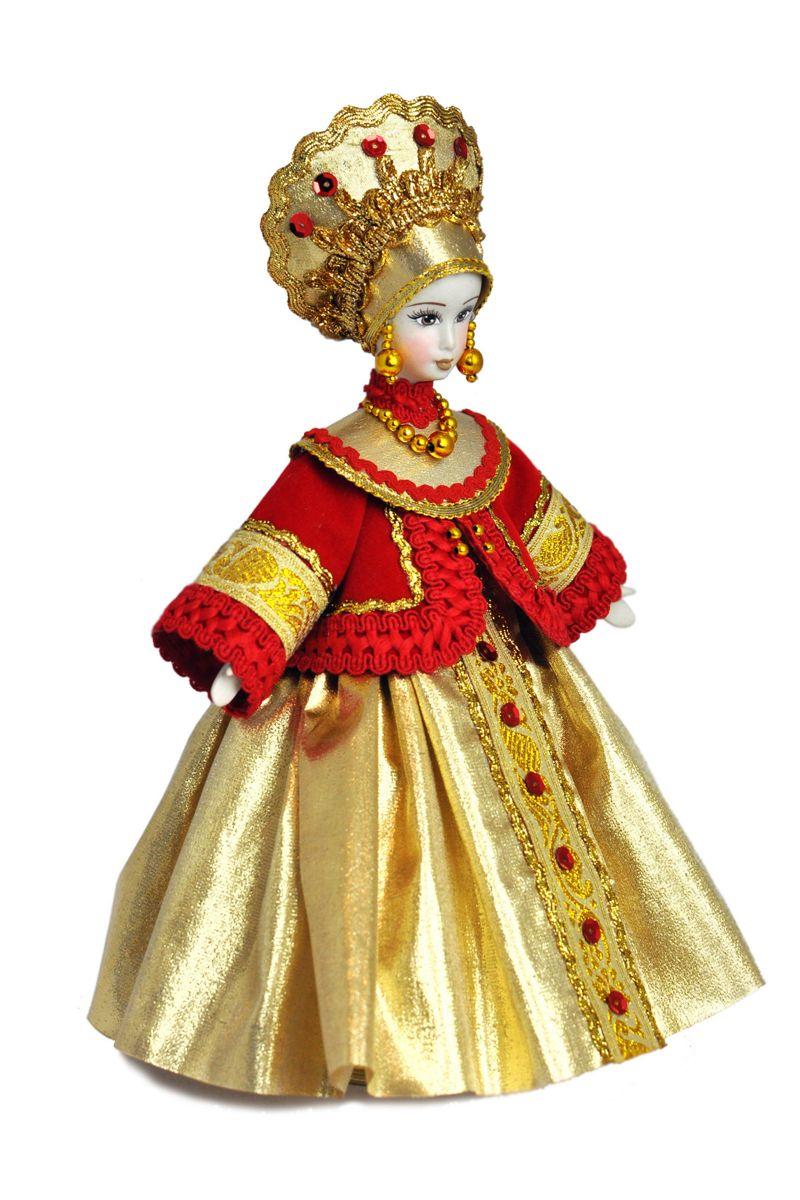 кукла в русском костюме фарфоровая