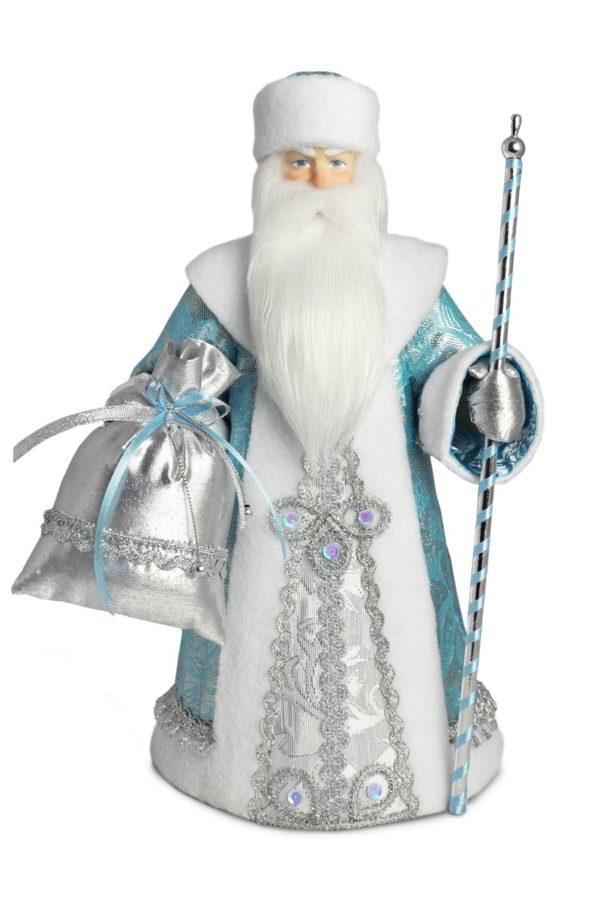 кукла дед мороз в голубом интерьерный