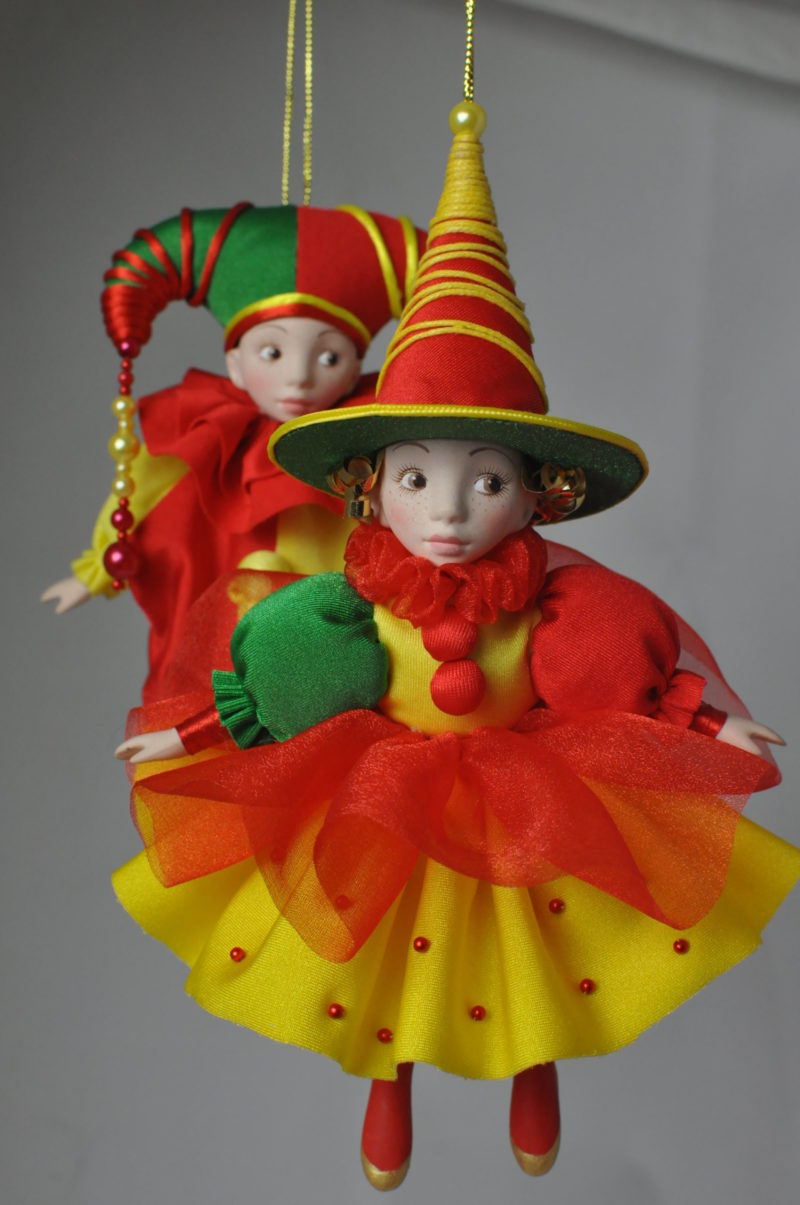 Интерьерная кукла арлекин коломбина купить