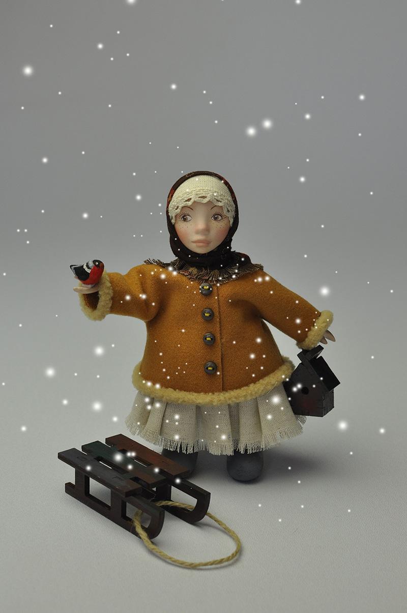 Кукла Марфуша с санками